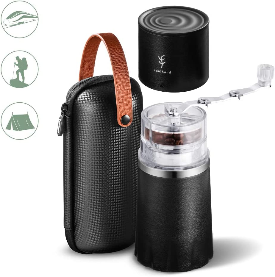 All in-One Coffee Maker for Travel Camping Working Office Portable Coffee Grinder Set,Soulhand Manual Coffee Grinder with Adjustable Ceramic Burr and Foldable Hand Crank with Storage Bag -Black)