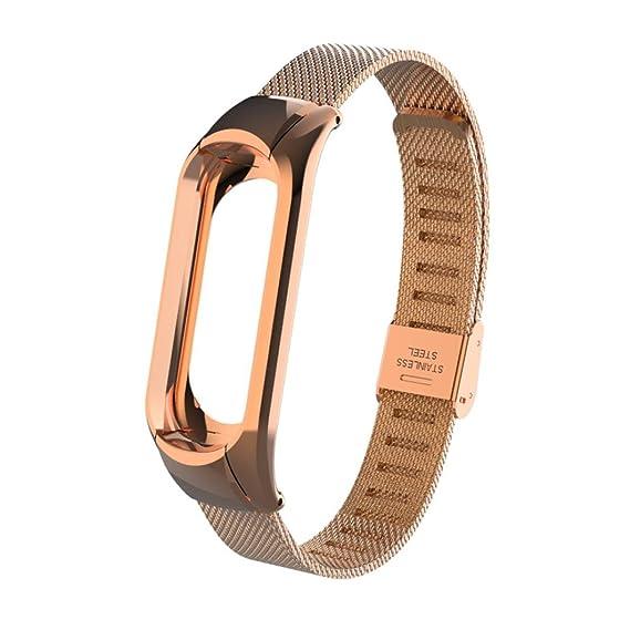 Correa de reloj inteligente Para Xiaomi MI Band 3, Sencillo Vida, Nueva pulsera ligera de acero inoxidable de moda, Replacement Watch Strap: Amazon.es: ...