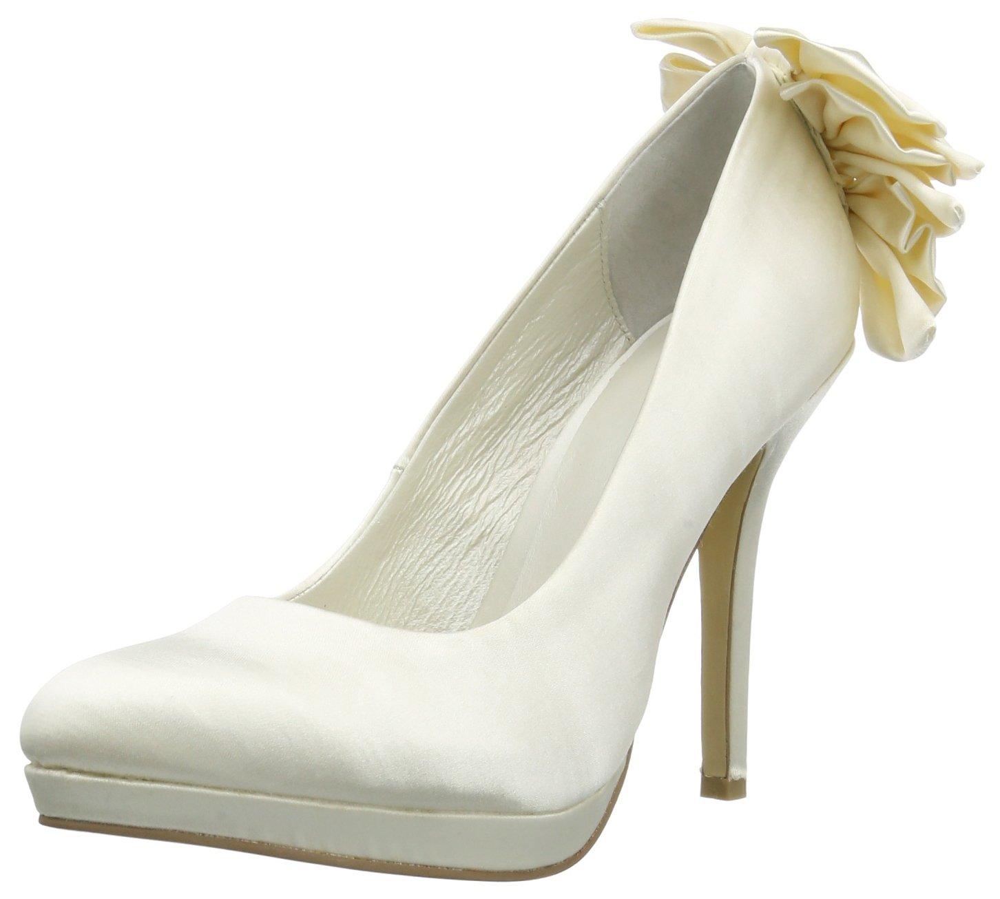 Menbur Wedding Naia 5082 - Zapatos clásicos de satén para mujer 36 EU|Marfil