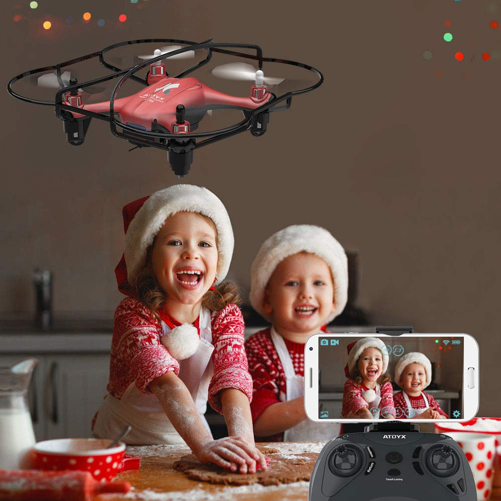 Gifts for Kids RC Mini Drone 3D Flips Blue Headless Mode with 2.4Ghz FPV WiFi APP ATOYX AT-96 Drone HD Camera Altitude Hold and One Key Take Off//Landing