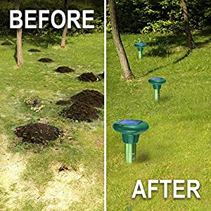 LOMEREY 4 Pack Sonic Mole Repellent Solar Powered Gopher Repellent Ultrasonic Mole Spike Vole Chaser Mole Deterrent Rodent Repellant Ultrasonic Pest Control Products for Lawn Garden Yard