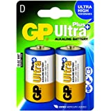 GP Batteries Ultra Plus Alkaline D/LR20 Blister with 2 Batteries. 1,5V, D_2-P_13AUP (Blister with 2 Batteries. 1,5V for Products with High use of Power. Nordic Ecolabel. The Most Powerful GP Bat.)