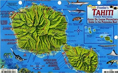 Tahiti Map & Guide to the Polynesian Reef Franko Maps Laminated Fish ...