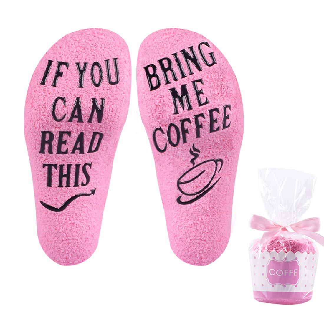 Coffee sock with Cupcake Gift Packing 'If You Can Read This Bring Me Coffee' Purse - Great Gift for Coffee Addict Mothers Day Birthday Gift for Women (Coffee Socks)