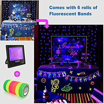 UV LED Black Light with Fluorescent Tape UV Flood Light with Plug for Dance Party, Stage Lighting, Glow in The Dark, Aquarium, Body Paint, Fluorescent Poster, Neon Glow