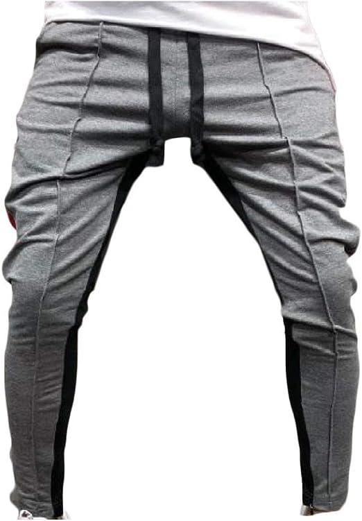 Nicellyer メンズファッションフィットヒップホップカラーステッチミッドウエストスポーツパンツ