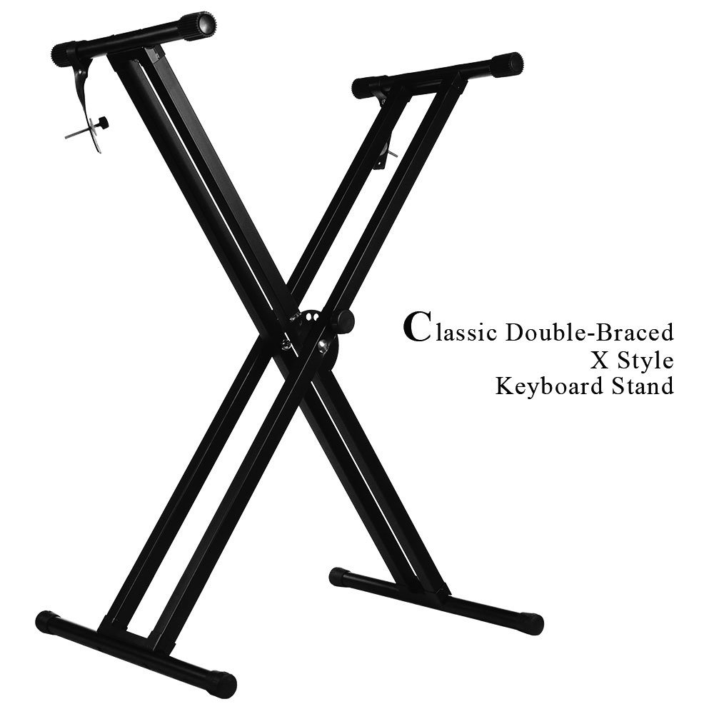Pro Series Adjustable Double-Braced X Style Piano Keyboard Heavy Duty Premium Stand - Black APL1301