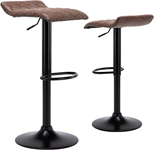 Vintage Adjustable Swivel Bar Stools – Contoured Counter Height Pneumatic Leather Barstool Chairs for Kitchen, Set of 2, Brown