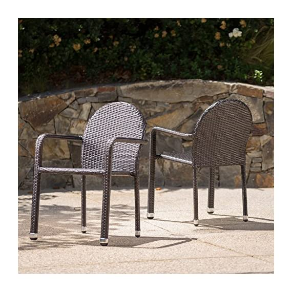 """Christopher Knight Home Aurora Outdoor Wicker Armed Stacking Chairs with Aluminum Frame, 2-Pcs Set, Multibrown - """"Includes: two (2) Dining chairs material: polyethylene wicker frame material: aluminum wicker finish: Multibrown no assembly required hand crafted details dimensions: 25.20 inches deep x 22.00 inches wide x 32.70 inches high"""" Brand name: Christopher Knight Home Made in China - patio-furniture, patio-chairs, patio - 61hLtr9lbcL. SS570  -"""