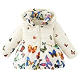 Weixinbuy Baby Girls' Infant Toddler Winter Warm Butterfly Print Hooded Outwear