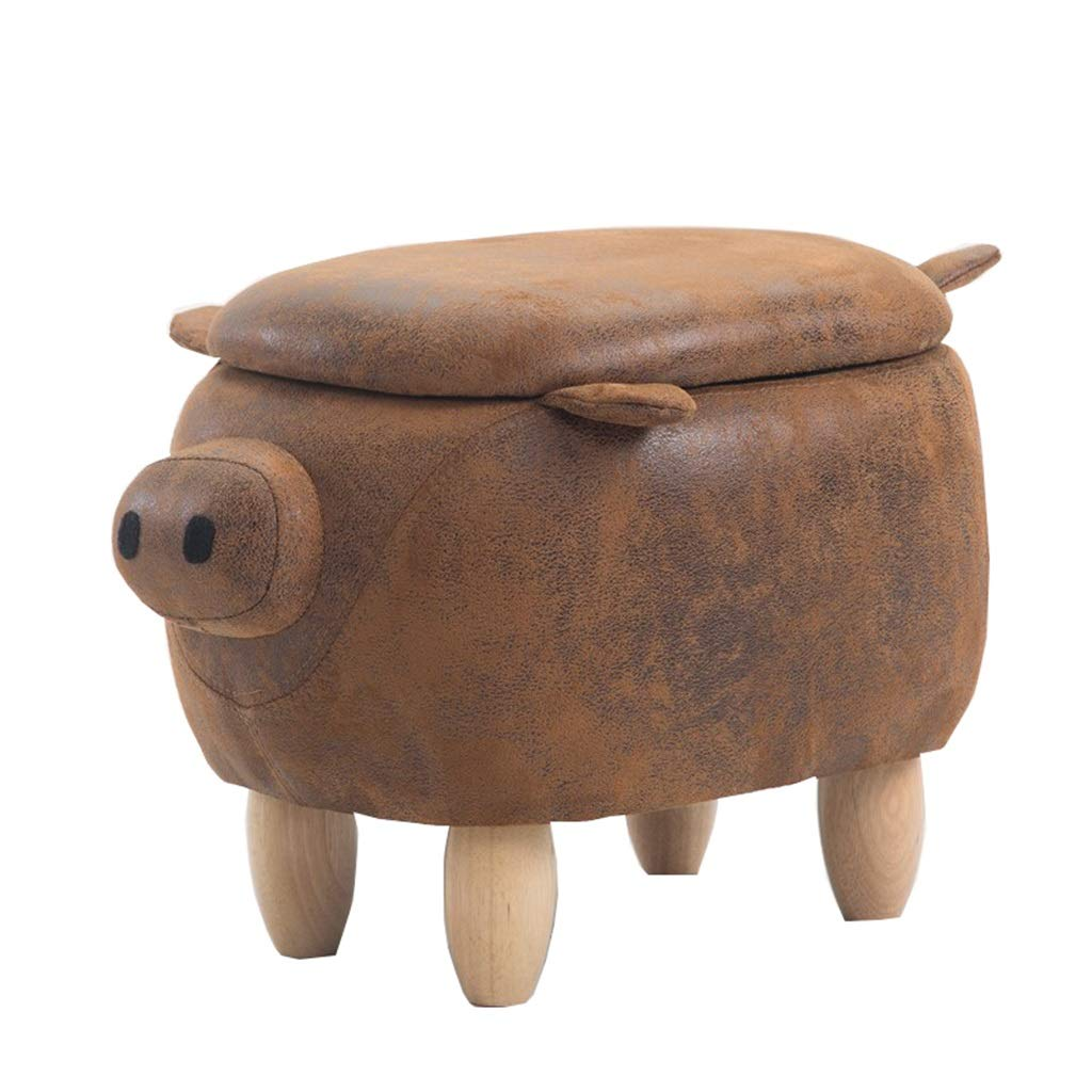 Solid Wood Footstool Sofa Storage Children's Bench Change Shoes Chair Upholstered Footstool Animal Pig Stool Bearing Weight 150kg HYE-Small stool