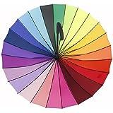 Loveface Large Umbrella Rainbow Hook Handle Umbrella-Multi-Coloured,24 ribs