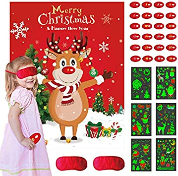 Pin The Nose on The Reindeer Xmas Party Game for Kids Children with 24 Nose and 2 Blindfold Family Office HOWAF Christmas Party Game for Kids