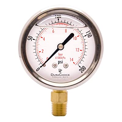 "2-1/2"" Oil Filled Pressure Gauge - Stainless Steel Case, Brass, 1/4"" NPT, Lower Mount Connection 0-200PSI: Automotive"