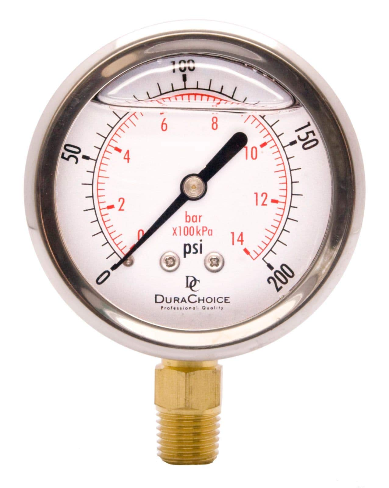 2-1/2'' Oil Filled Pressure Gauge - Stainless Steel Case, Brass, 1/4'' NPT, Lower Mount Connection 0-200PSI by DuraChoice