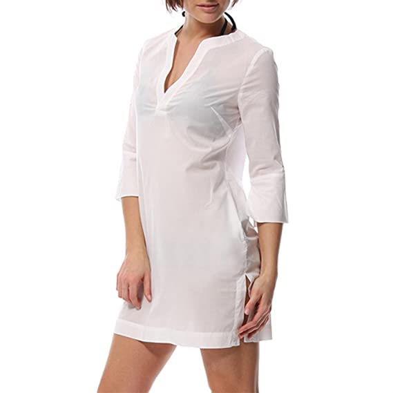 NCOEM Womens Cotton V Neck Summer Sleep Tops Thin Style Long Sleep Dress Perspective Nightwear with Pockets at Amazon Womens Clothing store: