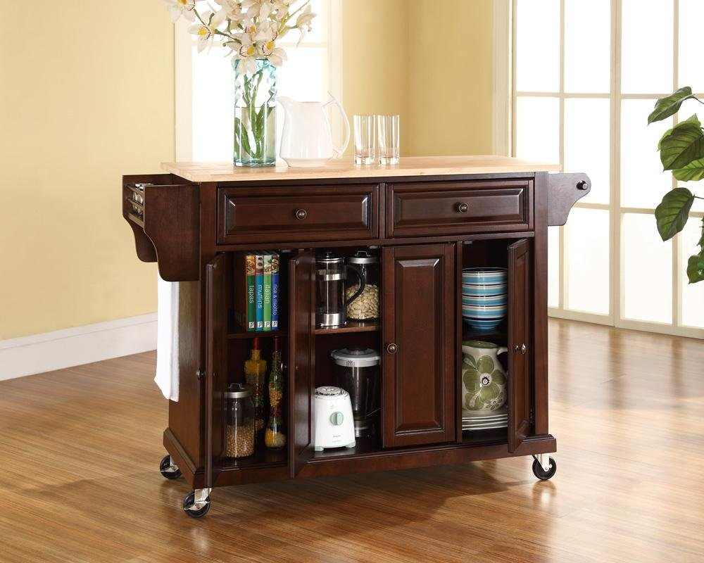 Crosley Furniture Rolling Kitchen Island with Natural Wood Top - White by Crosley Furniture (Image #4)