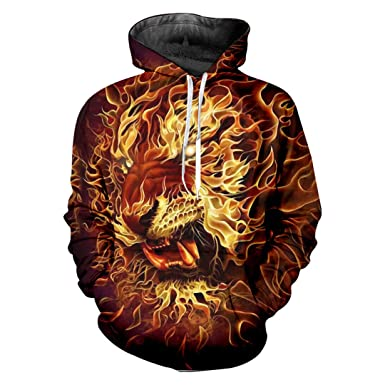 Harajuku Print Flame Lion 3D Hoodies Animal Sweatshirts Men Womens Hiphop Punk Hooded Pullovers Flame Lion