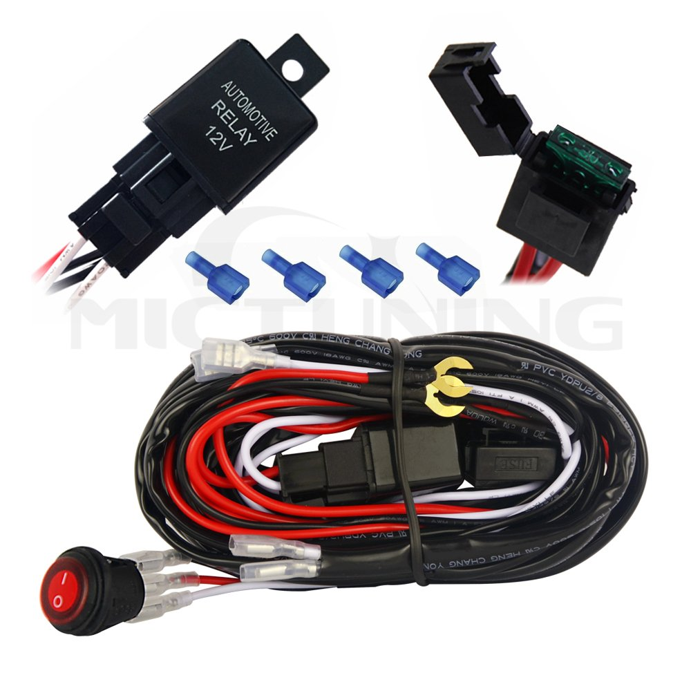 61hLvE1V4SL._SL1000_ amazon com mictuning led light bar wiring harness 40amp relay on light bar wiring harness from amazon at webbmarketing.co