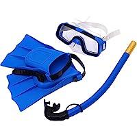 LIOOBO Conjunto de esnórquel, máscara de Buceo con Correa Ajustable fácil Vista panorámica de 180 ° y respiración Libre La Mejor máscara de esnórquel antivafilización para Adultos y niños (Azul)