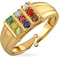 Navratan Gold Plated Panchdhatu Ring 9 Gemstone Unisex Ring with Certificate of Authenticity