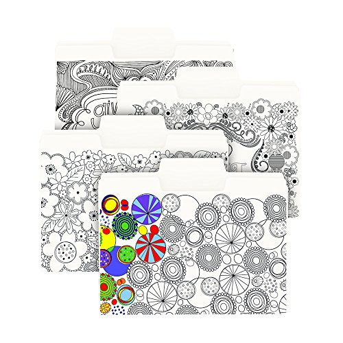 Smead SuperTab Coloring Folder, Oversized 1/3-Cut Tabs, Letter Size, 4 Designs, 12 Per Pack (11648)
