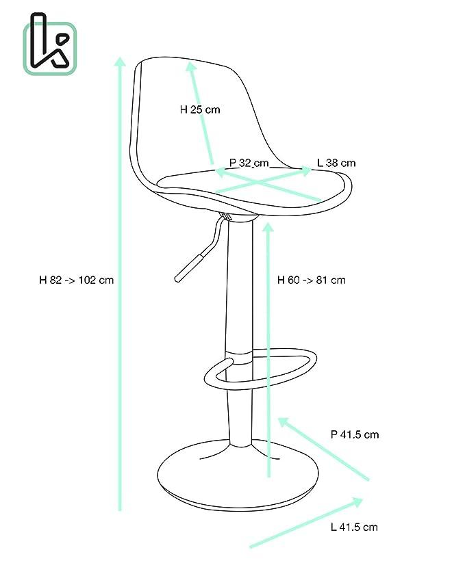 Kayelles - Taburetes de barra de cocina Design Sig - Juego de 2 sillas de bar regulable: Amazon.es: Hogar