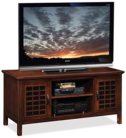 Leick 50 Inch Wide Tv Stand With Black Glass Chocolate Cherry
