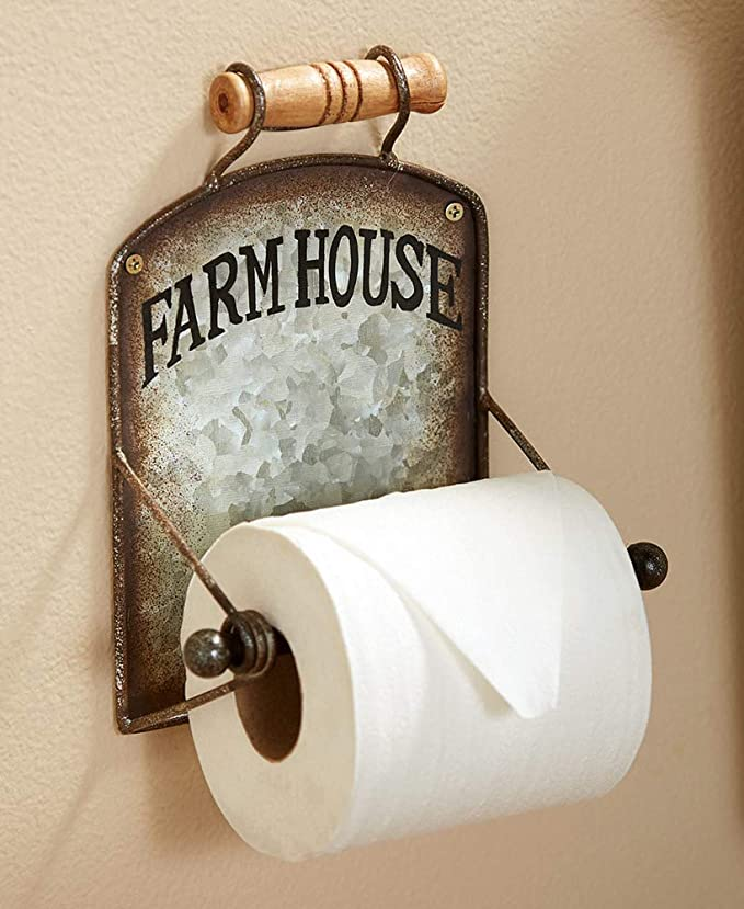 Mud Pie Home Lake Retreat Tin Magazine Toilet Paper Bathroom Holder