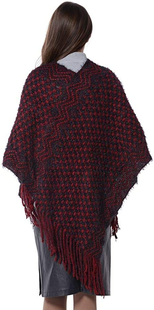 Wine Red Colour TJC Checker Wave Pattern Poncho with Tassels Size 75x55 cm Black