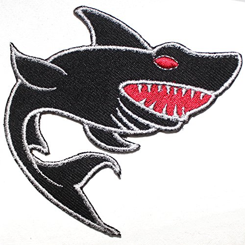 REAL EMPIRE Shark Patch Iron Sew On Embroidered Badge Fish Embroidery...