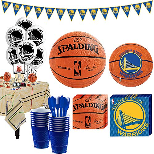 Party City Super Golden State Warriors Party Kit and Supplies for 16 Guests, Includes Decorations and Tableware -