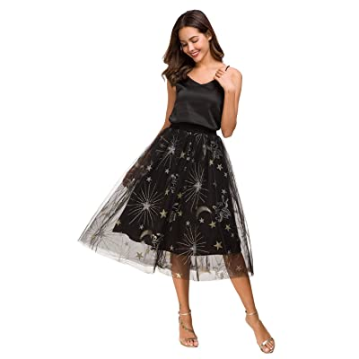 Alcea Rosea Women's High Waist Tutu Prom Party Midi Skirt Tulle A-line Skirt at Women's Clothing store