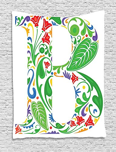 XHFITCLtd Letter B Tapestry, Capital with Spring Herbs Flowers Petals Leaves Nature Harvest Swirls Vivid Image, Wall Hanging for Bedroom Living Room Dorm, 60 W X 80 L Inches, Multicolor