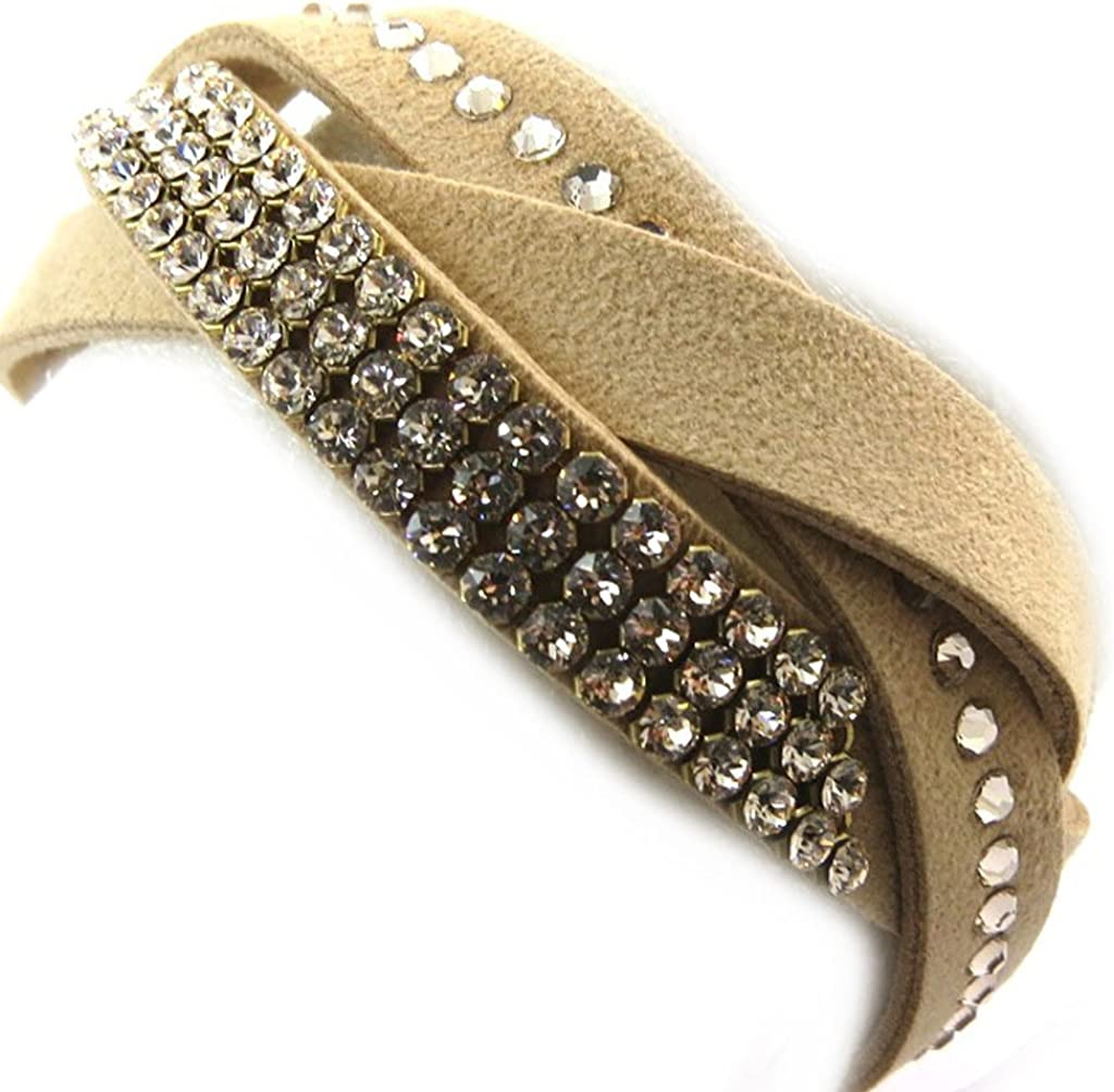 Amazon.com: 'french touch' bracelet 'Sissi' beige (crystal ...