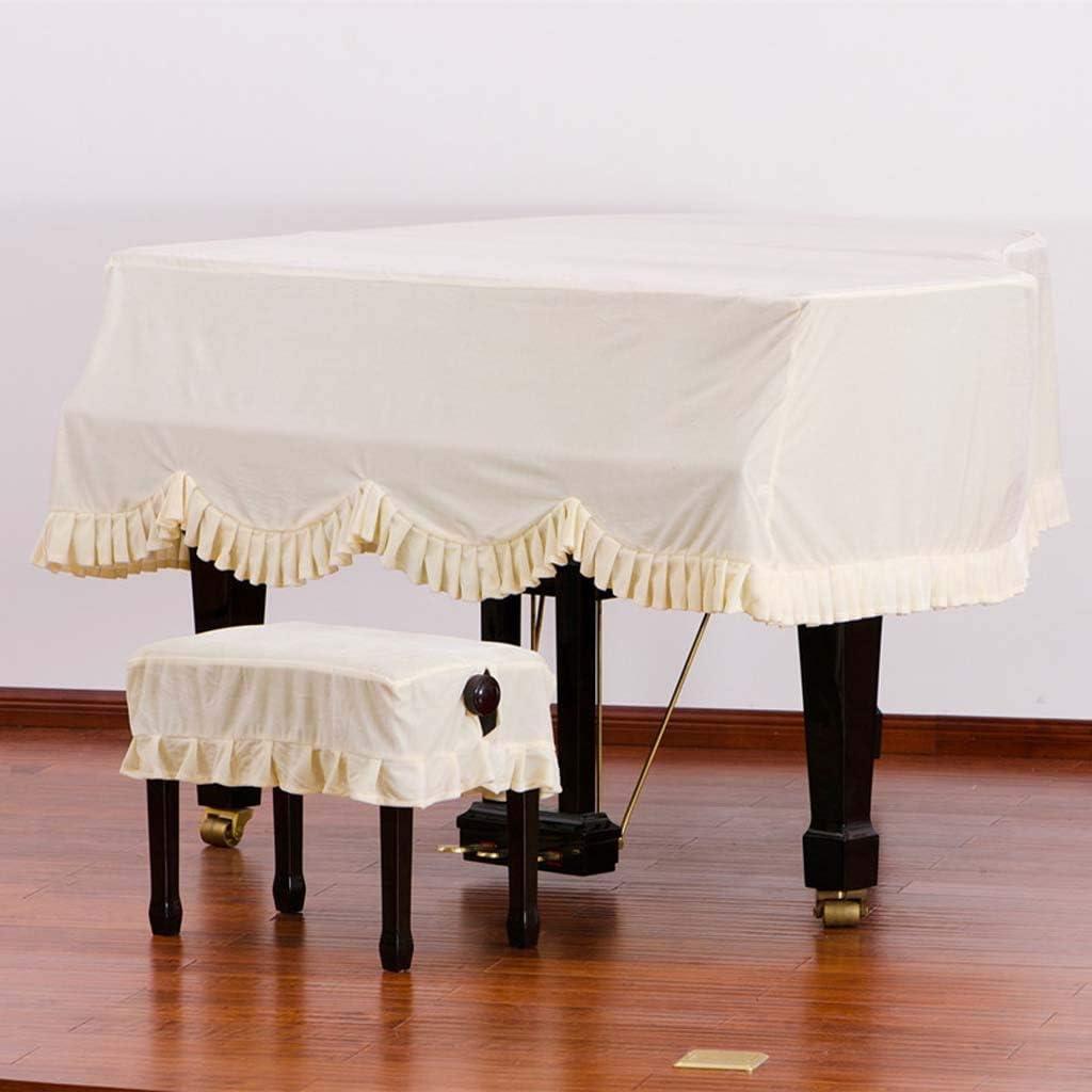 ゴールドベルベットピアノトライアングルカバープリーツエッジデザイングランドピアノセットスツールセットダストカバー(ピアノカバー+シングル/ダブルスツール) (Color : Beige, Size : 190cm+double stool)