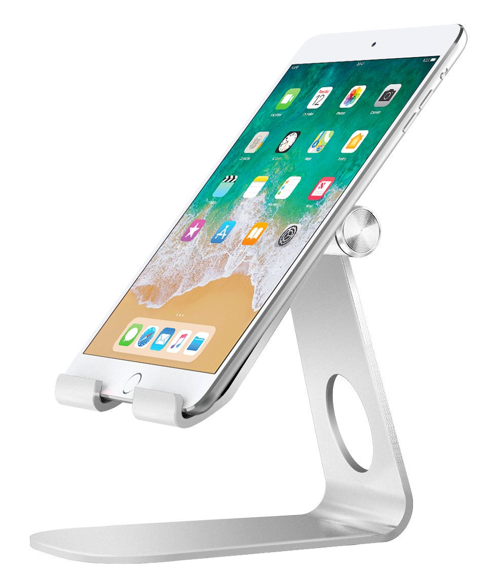 MoKo iPad Stand/Adjustable Tablet Stand, Multi-Angle Rotatable Aluminum Cellphone Desktop Holder for iPad Pro 10.5/9.7/Mini, iPhone X/8/8 Plus/7/7 Plus, Galaxy S9/S9 Plus, E-reader,Accessories, Silver