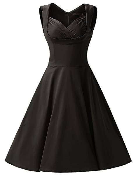 ZAFUL Vintage Vestidos Años 50 Retro Audrey Hepburn Falda Plisada Vestido de Noche Fiesta de Coctel