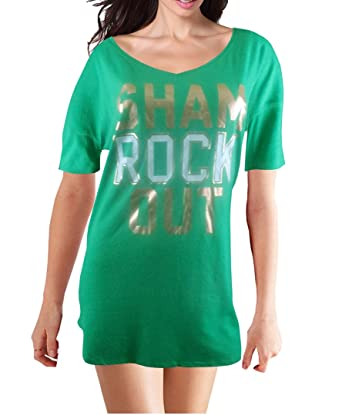 dcc6aeb335 Image Unavailable. Image not available for. Color  Victoria s Secret Women s  Nightgown Sham Rock Out Sleep Tee Large Green