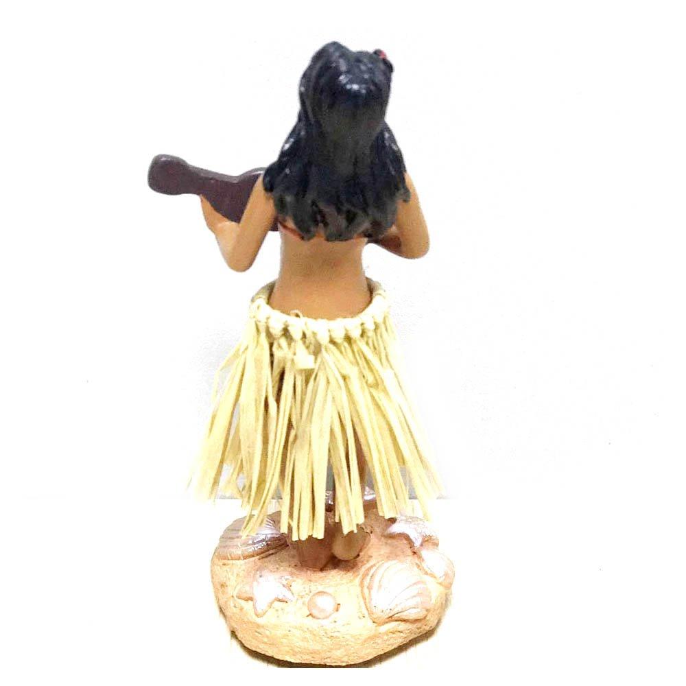 Bambolina da cruscotto in costume hawaiano da hula Bradda Ed con ukulele misura grande