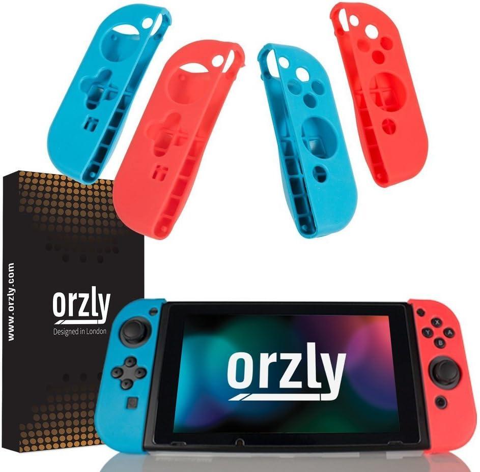 Pack de Cuatro FlexiCase de Orzly para los mandos Joy-con – Cuatro Fundas Protectoras (2X Rojo y 2X Azul) – Carcasas Ligeras, duraderas y Flexibles para los mandos Joy-Conde la Nintendo Switch: