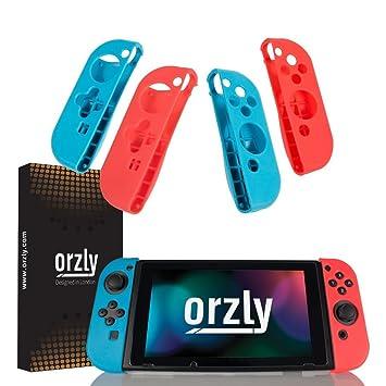 ORZLY® Pack de Cuatro FlexiCase mandos Joy-con – Cuatro Fundas Protectoras (2X Rojo y 2X Azul) – Carcasas Ligeras, duraderas y Flexibles para los ...