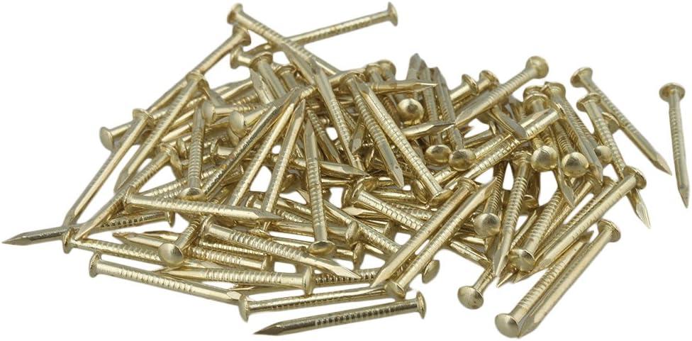 100 x Antique Brass Furniture  Copper Miniature Nail Round Head 18mm