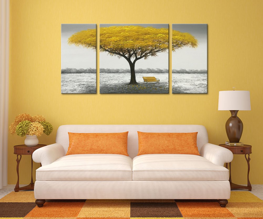 Winpeak Hand Painted Yellow Tree Modern Oil Painting Landscape Canvas Wall Art Abstract Picture Home Decoration Contemporary Artwork Framed Ready to Hang 40 W x 20 H 10 x20 x2pcs, 20 x20 x1pc