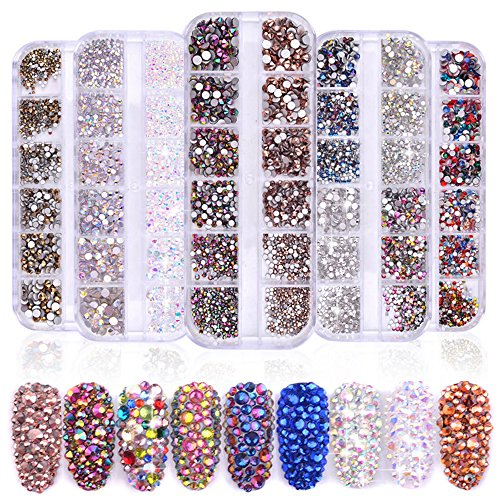 5 Boxes Multi-size Glass Nail Rhinestones For Nails Art Decorations Crystals Strass Charms Partition Rhinestone Set Shiny AB Colorful Non Hotfix Flatback 3d Stone Nails Gem