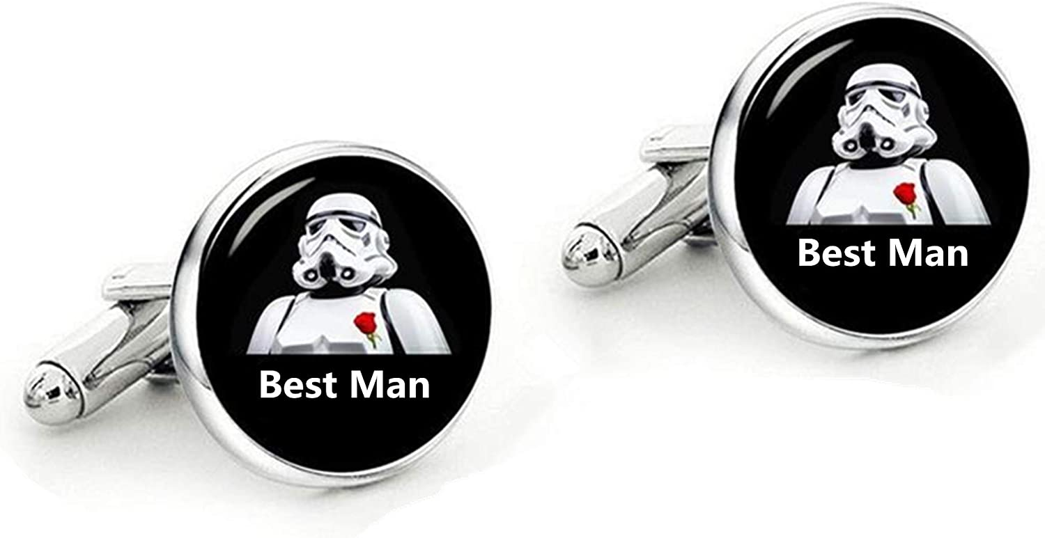 Kooer Classic Wedding Cufflinks Personalized Star Wars Cuff Links Jewelry Gift for Groom Best Man Groomsman Bridesman