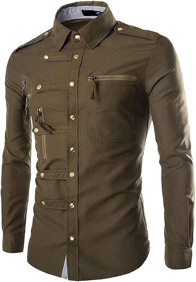 Macondoo Men Zip Classic Long-Sleeve Cotton Slim Button Down Shirt