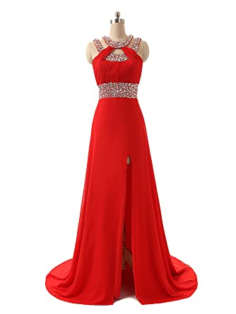 Felaladress Elegant Long Chiffon Red Crystal Sexy Evening Prom Dress