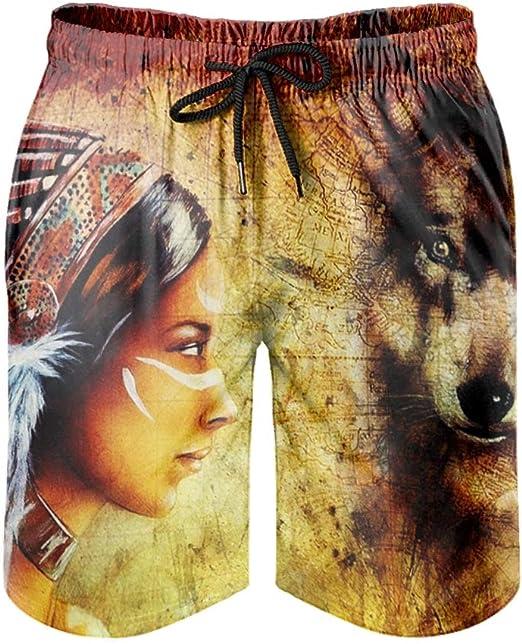 con bolsillos kikomia Ba/ñador para hombre con dise/ño de lobo y sol