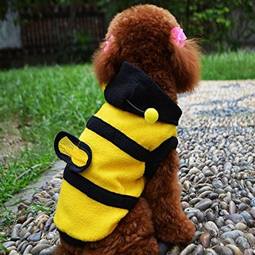 Amazon.com : Cute Bee Design Pet Dog Polar Fleece Cloth Clothing Cat Clothes Puppy Hoodie Plush Warm Winter Coat Apparel Costume Accessory for Dogs Pets ...